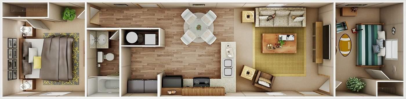 3D floor plan of the Bliss model by Tru Homes