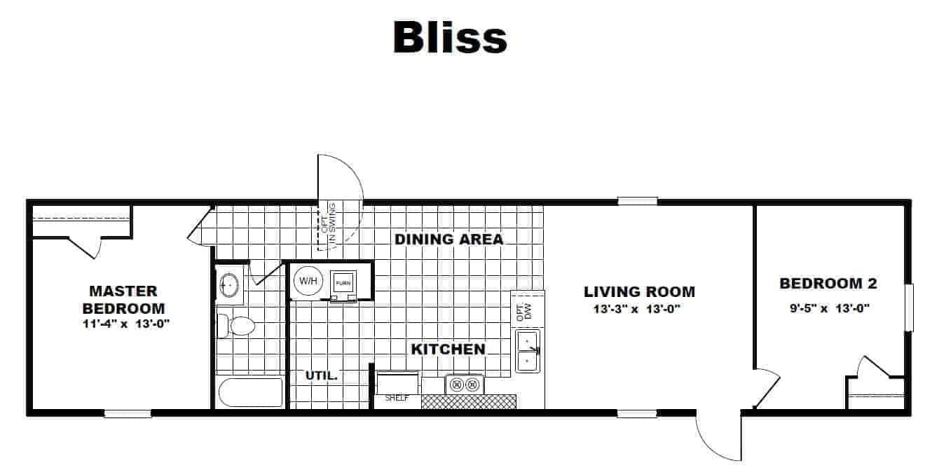 TRU HOMES - BLISS 14x56 floorplan