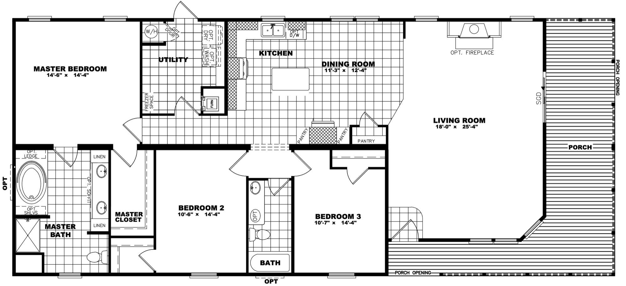 Clayton Developer - Stewart 32X70 floorplan