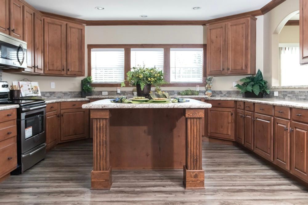 Schult mobile home model Newport kitchen view 1