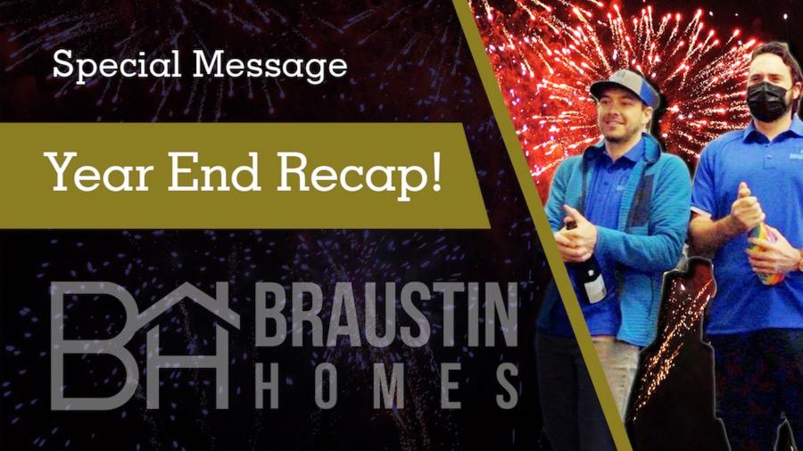 2020 Year End Recap slide with Braustin Employees celebrating and fireworks in the background